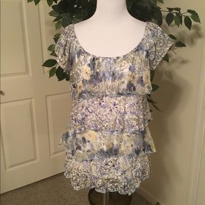 AGB Powder Blue Floral Lace & Ruffle Blouse Sm